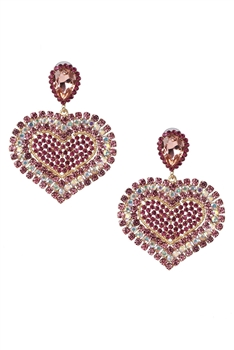 Heart Shaped Rhinestone Earrings E3957