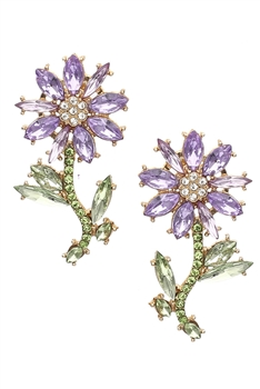 Flower Rhinestone Earrings E3959 - Purple