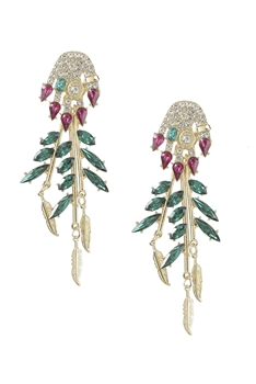 Floral Tassel Rhinestone Earrings E3967