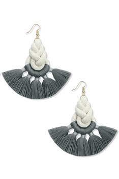 Braided Tassel Earrings E3994 - Grey