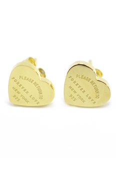 Heart Stainless steel Stud Earrings E3995 - Gold