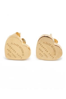 Heart Stainless steel Stud Earrings E3995 - Rose Gold