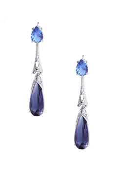 Teardrop Zircon Copper Earrings E4071 - Navy