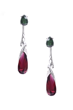 Teardrop Zircon Copper Earrings E4071 - Red