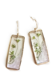 Transparent Flower Rectangle Earrings E4081