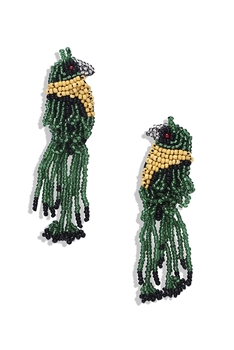 Bird Seed Bead Tassel Earrings E4085