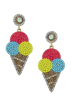Ice Cream Seed Bead Tassel Earrings E4086