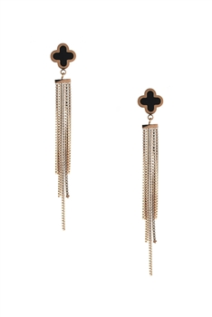 Clover Stainless Steel Tassel Earrings E4090