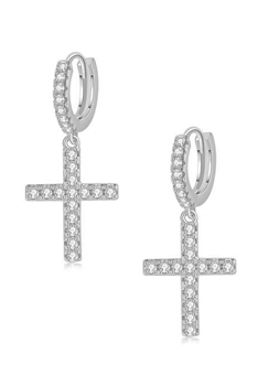 Cross Zircon Copper Earrings E4091 - Silver