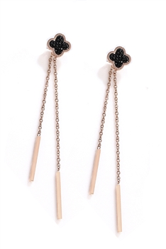 Clover Stainless Steel Tassel Earrings E4093