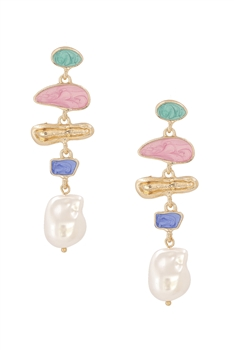 Irregular Pearl Chain Earrings E4100