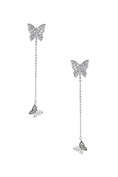 Butterfly Rhinestone Tassel Earrings E4109