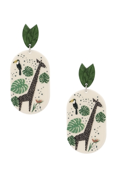 Leaf Giraffe Acrylic Earrings E4121