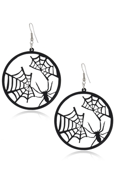 Spider Web Circle Acrylic Earrings E4136