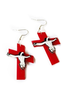 Jesus Cross Acrylic Earrings E4154