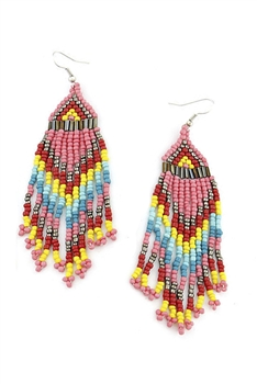 Seed Bead Tassel Earrings E4155