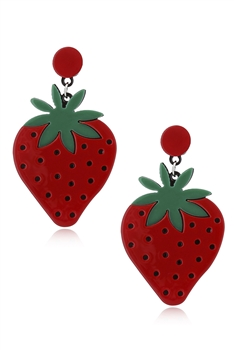 Strawberry Acrylic Clip On Earrings E4190