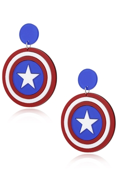 Captain America Star Acrylic Clip On Earrings E4192