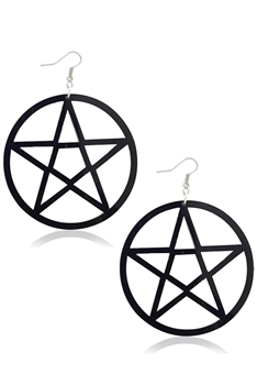 Hollow Star Circle Acrylic Earrings E4210 - Black