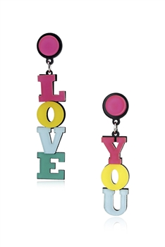 """LOVE YOU ""Acrylic Earrings E4212"