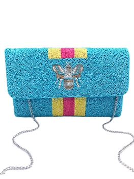 BEE-You Striped Beaded Clutch EXW-6030-TQ