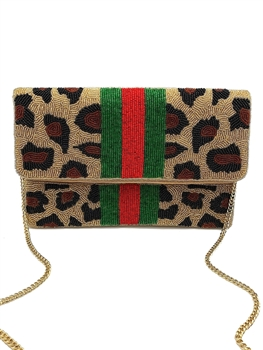 Leopard Print Beaded Clutch Bag EXW-6031