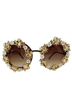Handmade Floral Sunglasses G0171 - Brown