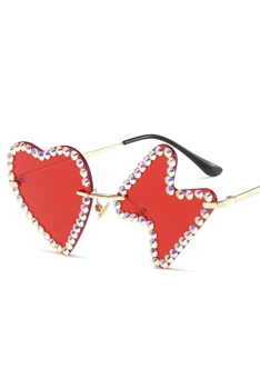 Heart Lightning Rhinestone Sunglasses G0188