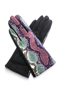 Snakeskin Printed Suede Gloves GL0002 - NO.4