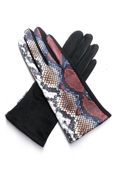 Snakeskin Printed Suede Gloves GL0002 - NO.5