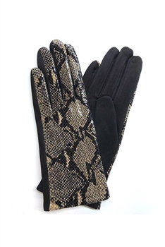 Snakeskin Printed Suede Gloves GL0002 - No.2