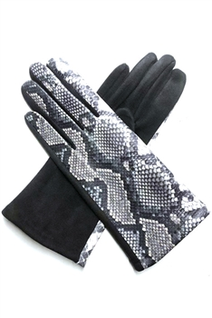 Snakeskin Printed Suede Gloves GL0002 - No.3