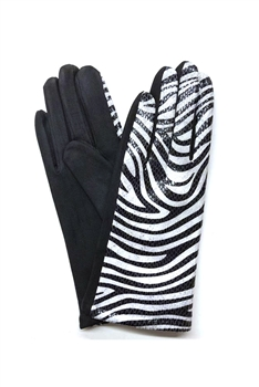Animal Printed Suede Gloves GL0003 - Black