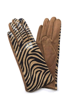 Animal Printed Suede Gloves GL0003 - Brown