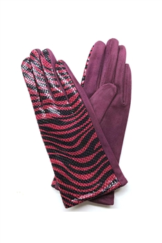 Animal Printed Suede Gloves GL0003 - Wine