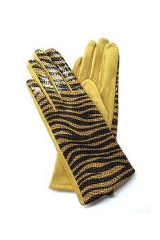 Animal Printed Suede Gloves GL0003 - Yellow