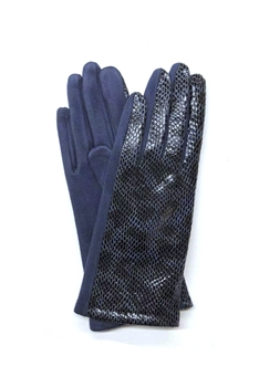 Leopard Printed Suede Gloves GL0004 - Navy