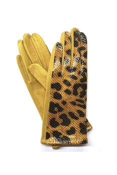 Leopard Printed Suede Gloves GL0004 - Yellow