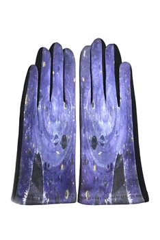 Van Gogh Painting Printed Suede Gloves GL0005 - No.2