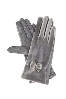 Bow Suede Gloves GL0006 - Grey