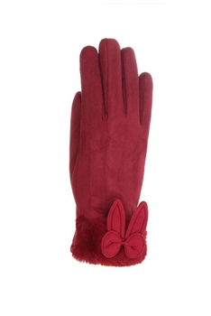 Bow Wool Gloves GL146 - RED