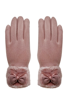 Bow Touch Screen Glove GL153 - Pink