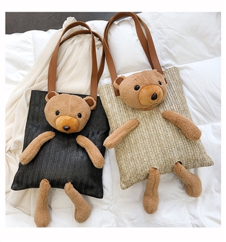 Bear Toy Straw Shoulder Tote Bags HB0190