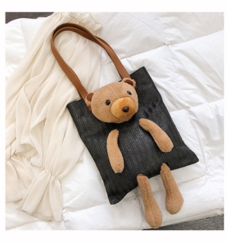 Bear Toy Straw Shoulder Tote Bags HB0190 - Black