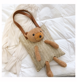 Bear Toy Straw Shoulder Tote Bags HB0190 - Khaki