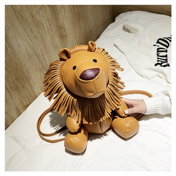 Cartoon Lion Leatherette Backpack HB0190 - Brown