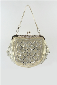 Rhinestone Studded Denim Kiss Lock Shoulder Bag HB0296