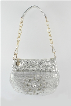 Rhinestone Studded Denim Weave Handbags HB0297