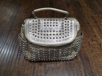 Rivet Leatherette Handbag HB0447 - Gold
