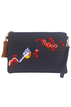 Vintage Embroidered Flower Canvas Messenger Bag HB0571
